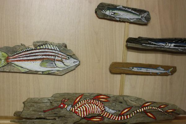 Local art work on driftwood