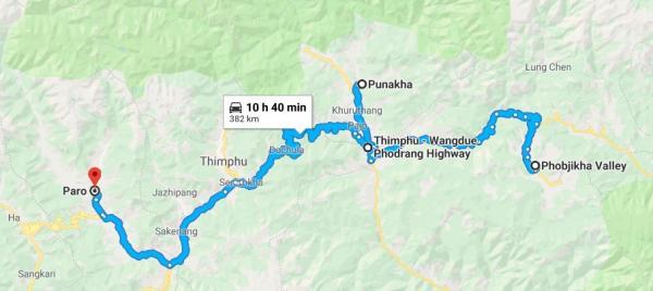 Bhutan Map - Inala Nature Tours