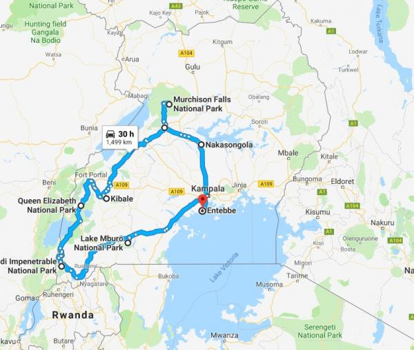 Uganda map of tour route - Inala Nature Tours