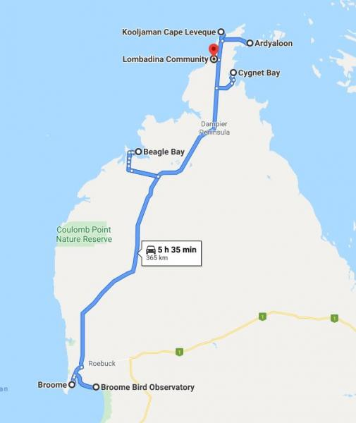 Map of Route - Broome and Dampier Peninsula - Inala Nature Tours
