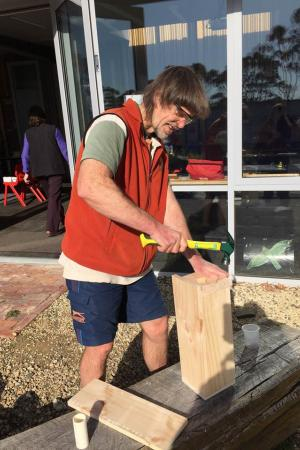 Andrew Hingston building a nest box for Forty-spotted Pardalote.